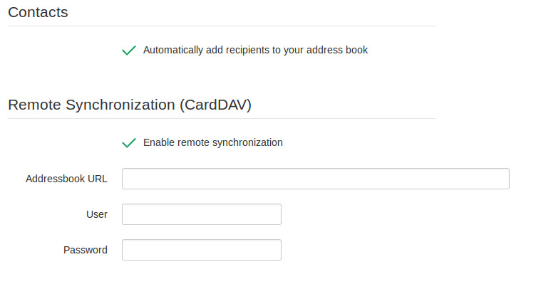 rainloop carddav settings